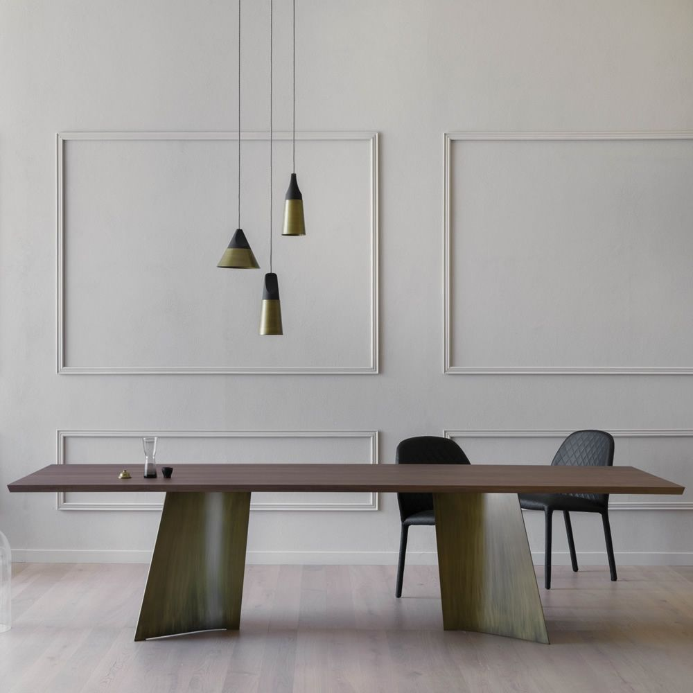 Table in bronze metal, with top in Canaletto walnut wood