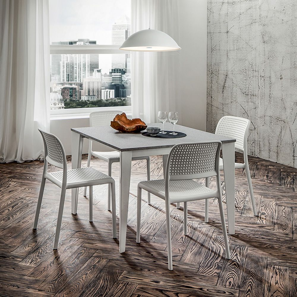 Extendable table in white varnished metal, top in ash basalt HPL, matching with Bora Bistrot chairs
