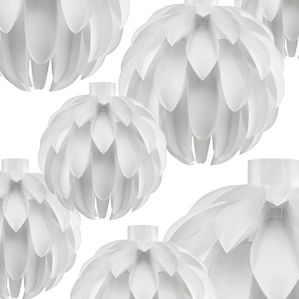 Pendant lamp made of plastic material in white colour