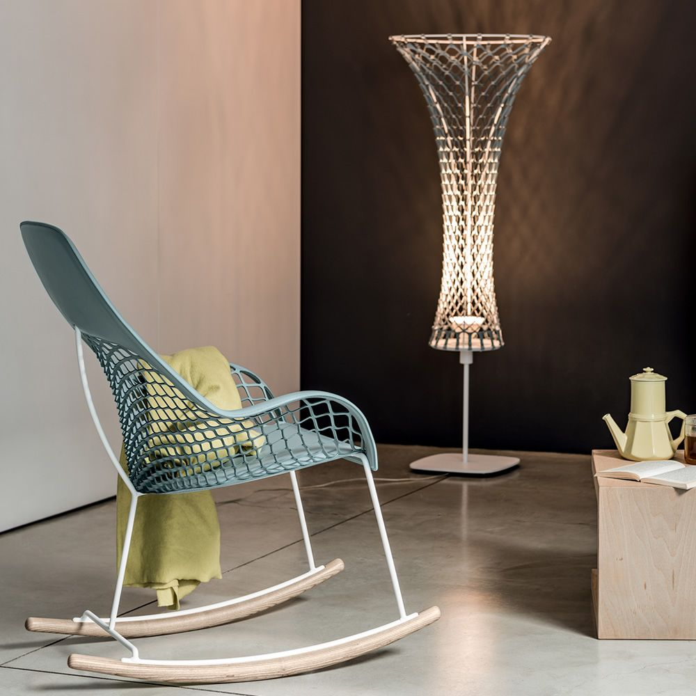 Design floor lamp made of metal and TK hide, matched with Guapa DNB chair