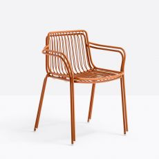 Nolita P - Pedrali chair with armrest in metal, stackable, with high or low backrest, for outdoor use