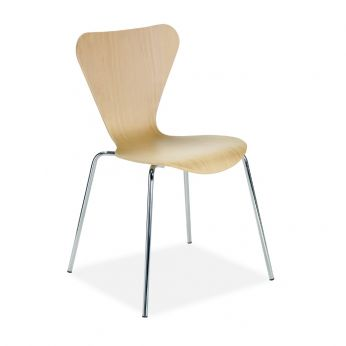 Tuga - Modern chair in chrome metal, natural beech seat