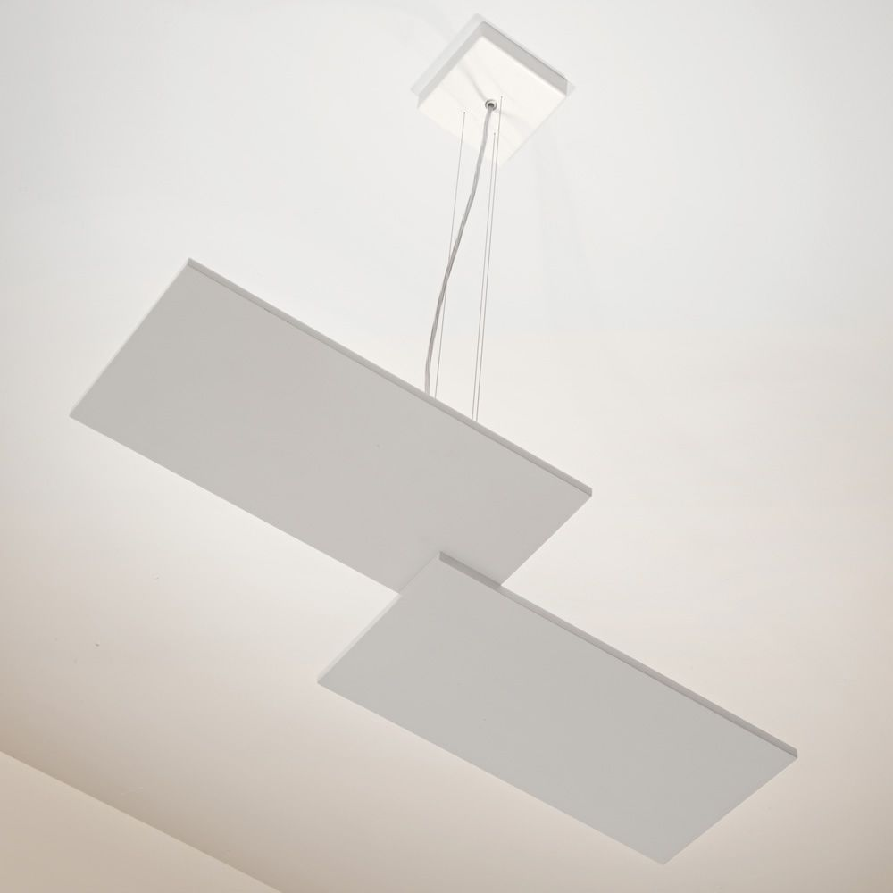 Design pendant lamp, in white painted metal, smaller version (S)