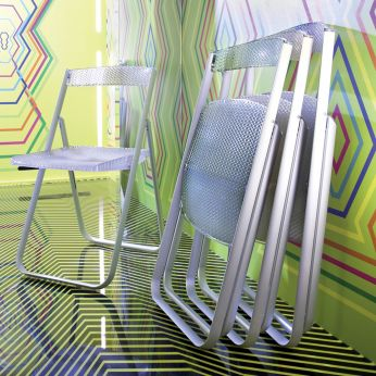 Honeycomb - Silla plegable de design, en policarbonato de color azul