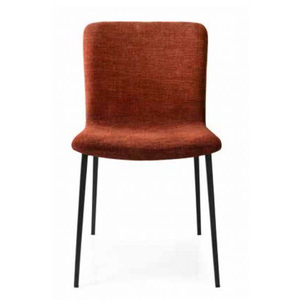 Black varnished metal chair, with red fabric seat