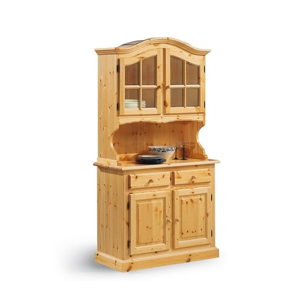 Country style cabinet made of pine wood with natural finish, two doors