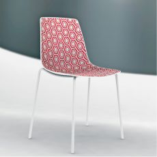 Alhambra - Stacking metal chair with technopolymer seat, also for outdoor