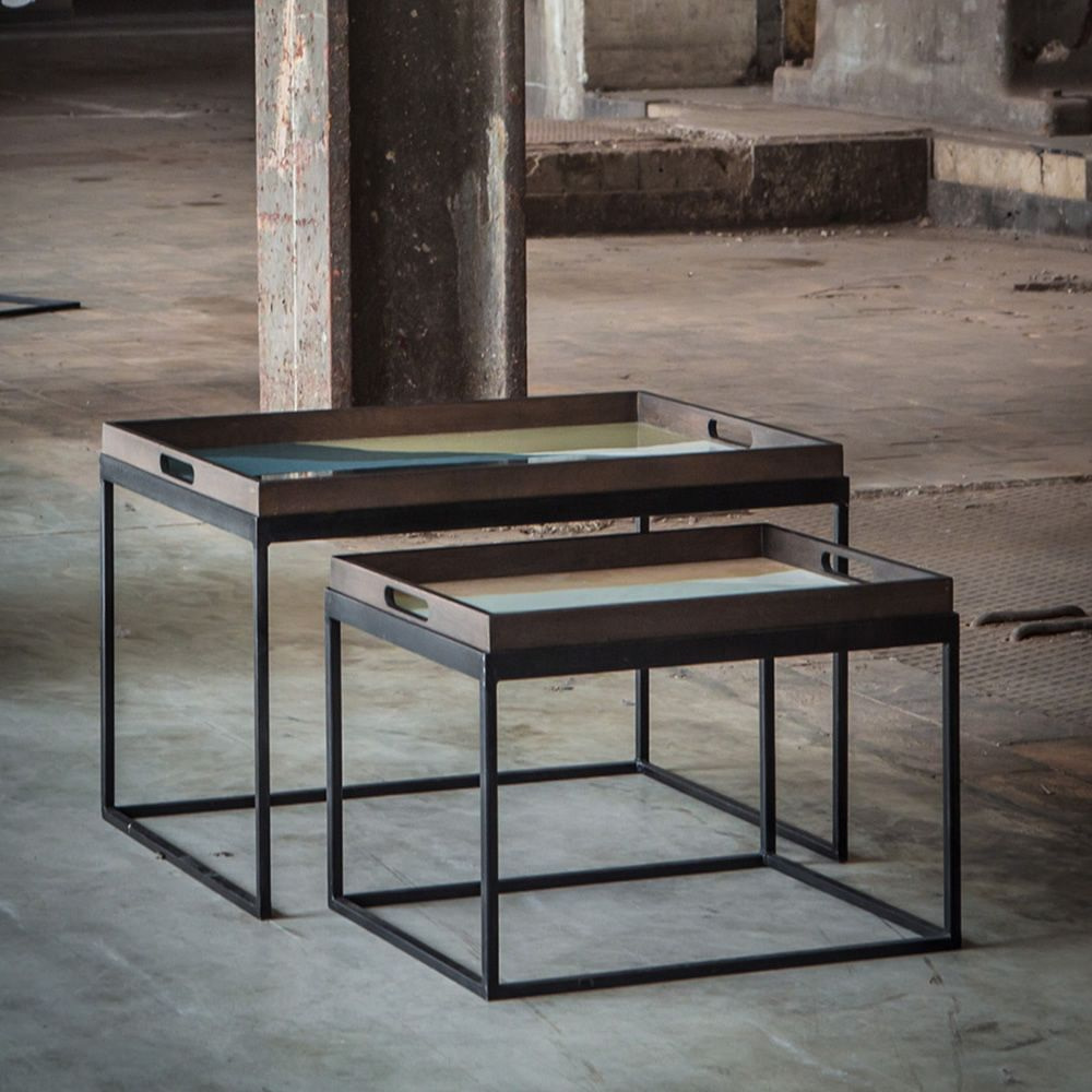 Ethnicraft coffee tables set, in metal and wood