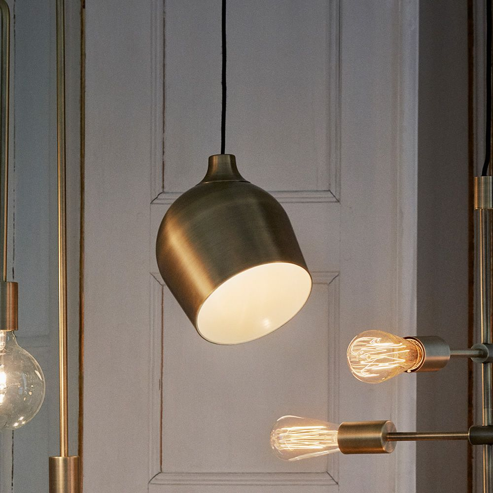 Suspension lamp in metal, antique brass finish