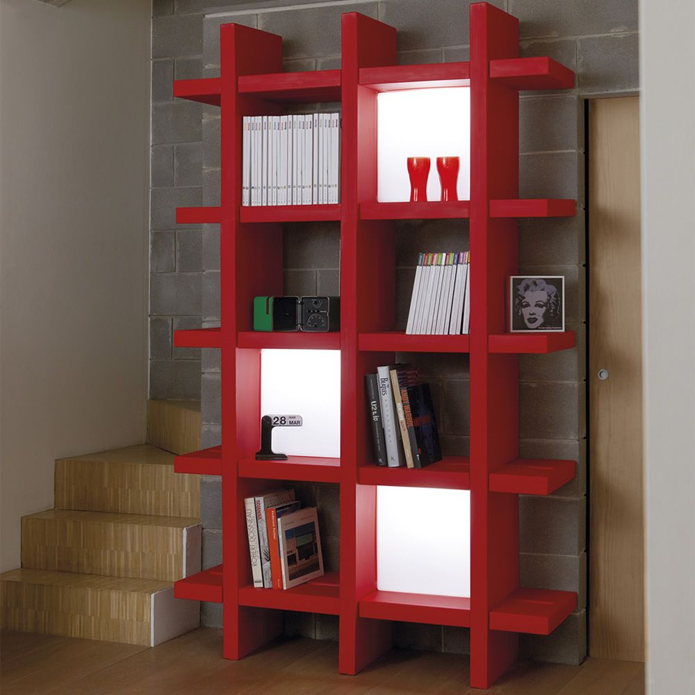 Design bookcase, M size, matched with 3 lamps Quadro (available on request)