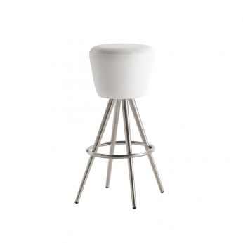 Trilly 1966 - Bar stool in chromed metal, padded seat covered with white imitation leather, seat height of 80.5 cm