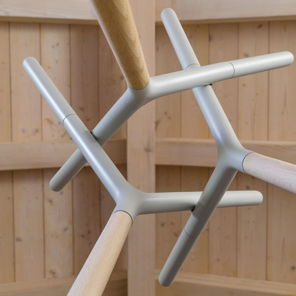 Coat rack in natural and smoke grey lacquered wood, detail