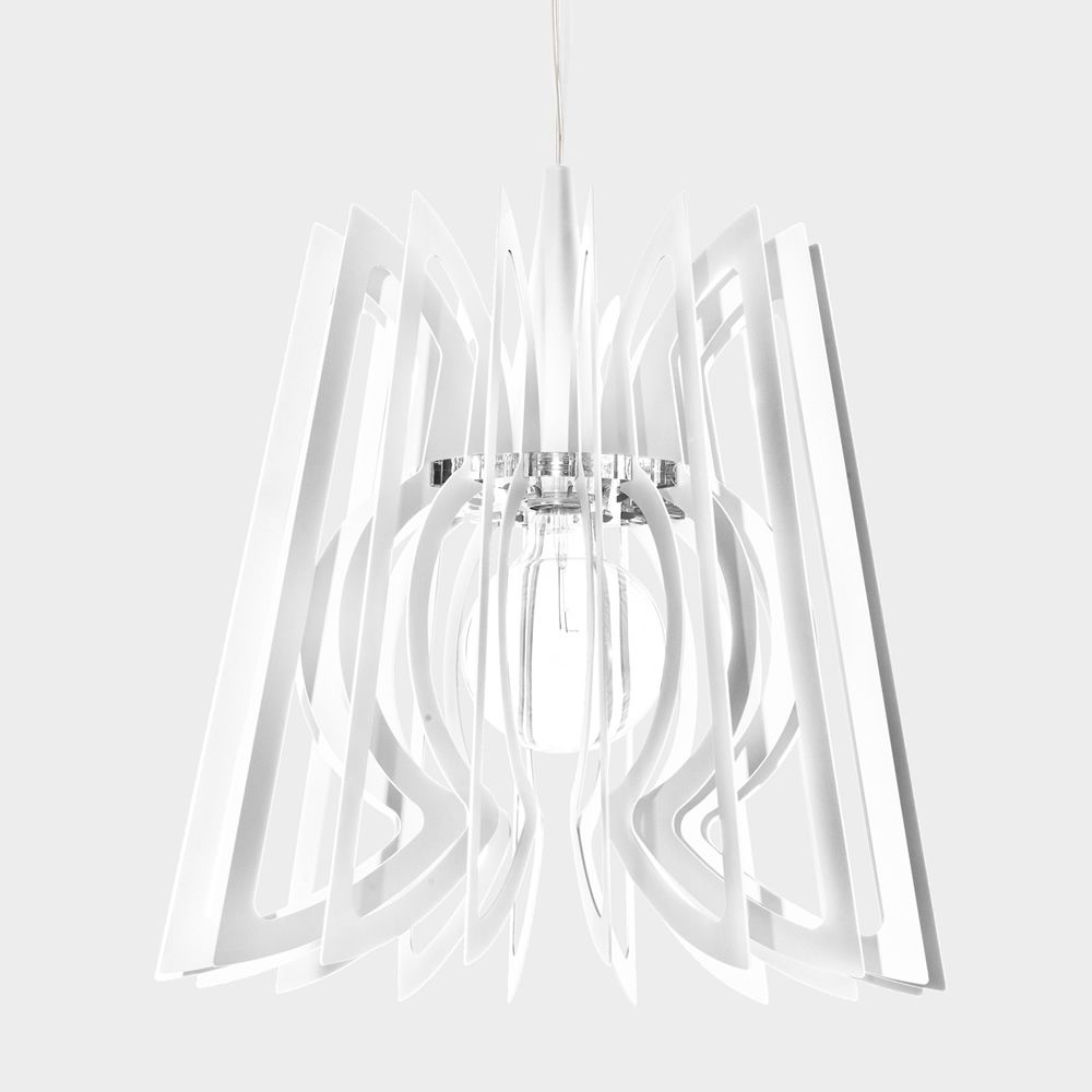 Suspension lamp in white varnished steel