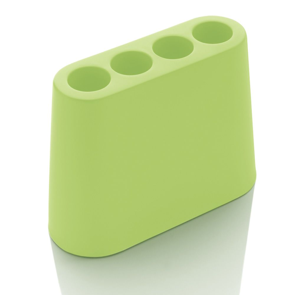 Design umbrella stand made of pastel green polyethylene, for outdoor