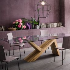 Akeo F - Designer fixed wooden table, , with top in glass, available in different dimensions
