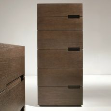 Asola-D - Dall'Agnese high chest of drawers made of wood, different finishes available, six drawers