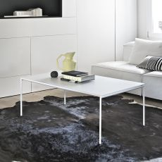 Diagonal R - Bontempi Casa design side table, in metal with glass top, 120x65 cm