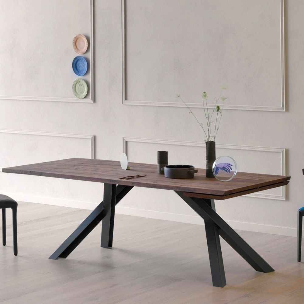 Rectangular table in black varnished metal, with top in '700 oak wood