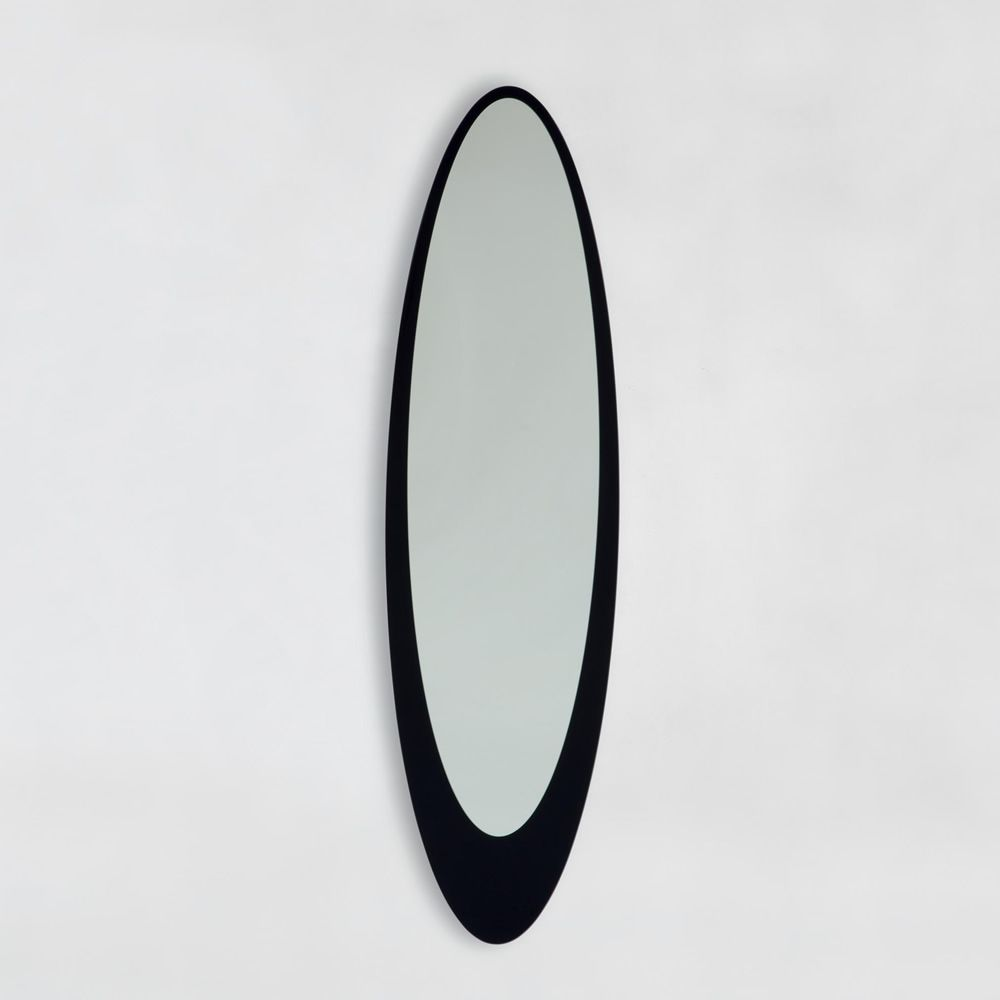 Elliptical mirror with black serigraphed glass frame