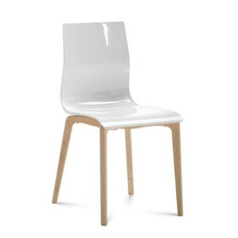 Gel-L - Chair made of ash wood with white SAN seat