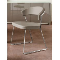 CB1022-SK New York - Silla de metal Connubia - Calligaris con tapicería en simil piel, disponible en distintos colores