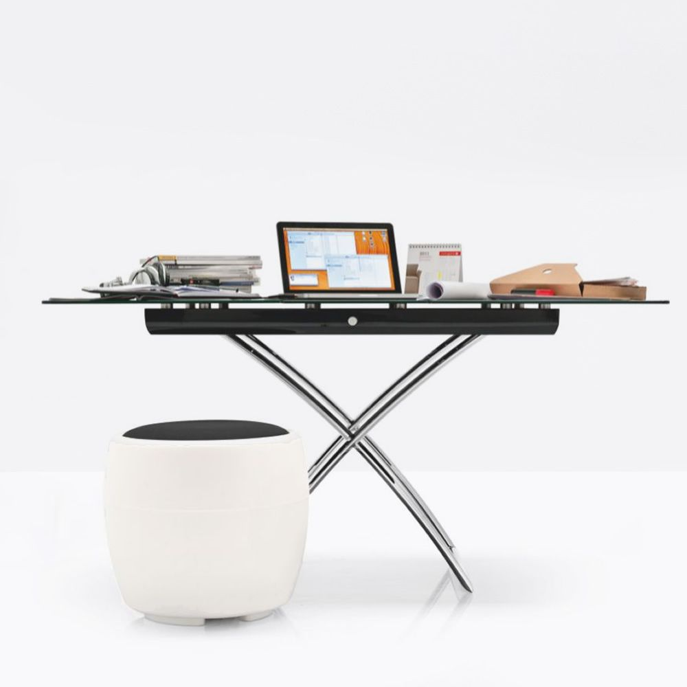 Extendable and adjustable in height table made of chromed metal, with black glass top