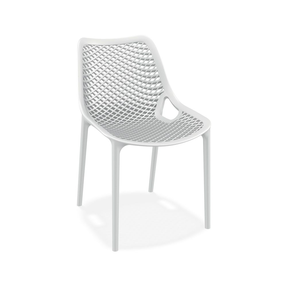 Stackable chair made of polypropylene and glass fiber, white version, also for garden