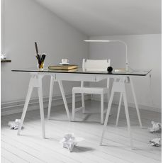 Arco - Wooden writing desk, glass top 150 x 75 cm, with drawer
