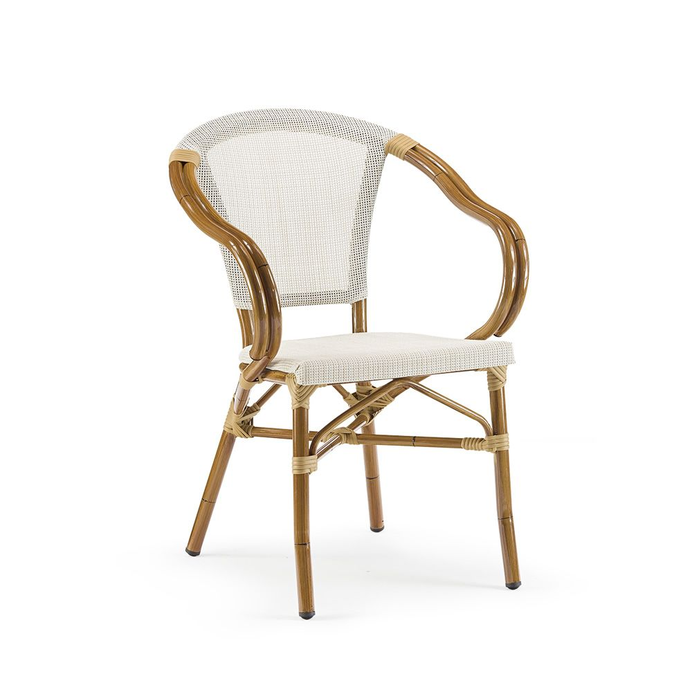Stackable armchair made of varnished aluminium in honey colour with bamboo effect, seat and backrest in beige textilene