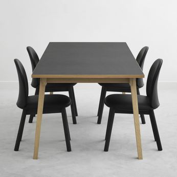 Slice-L - Table made of oak with top in laminate and linoleum, different colours and sizes available, matched with Ace chairs