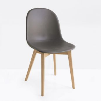 CB1665-SK Academy W - Wooden chair in natural oak finish, with dove-grey imitation leather seat