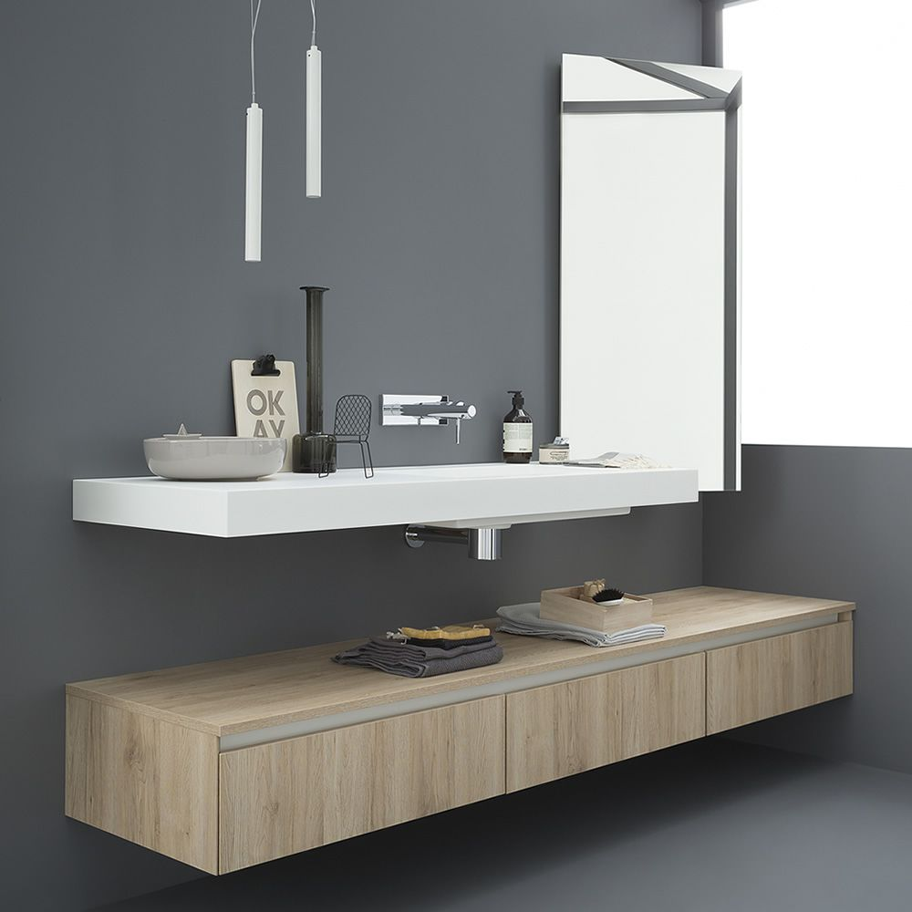 Modern mirror matching with 45 bath cabinet