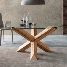 Anassagora - Designer wooden table, fixed, with top in glass, available in different dimensions