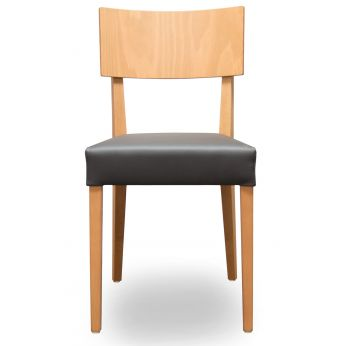 Barley - Chair with natural stained beech structure and seat in black leather
