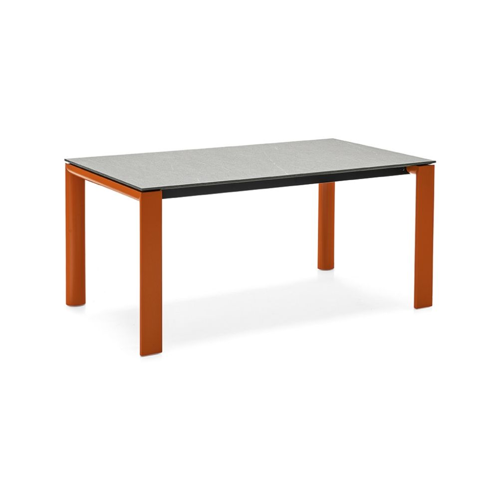Extendible table with matt saffron painted metal frame and Stone ceramic top