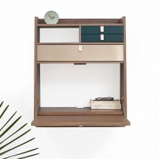 Gaston - Wall secretary desk in wood, with folding table and three drawers