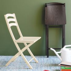 CB1196 Ambra Outlet - Connubia - Calligaris folding wooden chair with multilayer seat