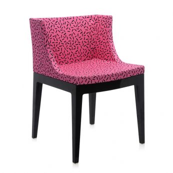 Mademoiselle Memphis by Sottsass - Black polycarbonate armchair, covered in fuchsia Letraset fabric