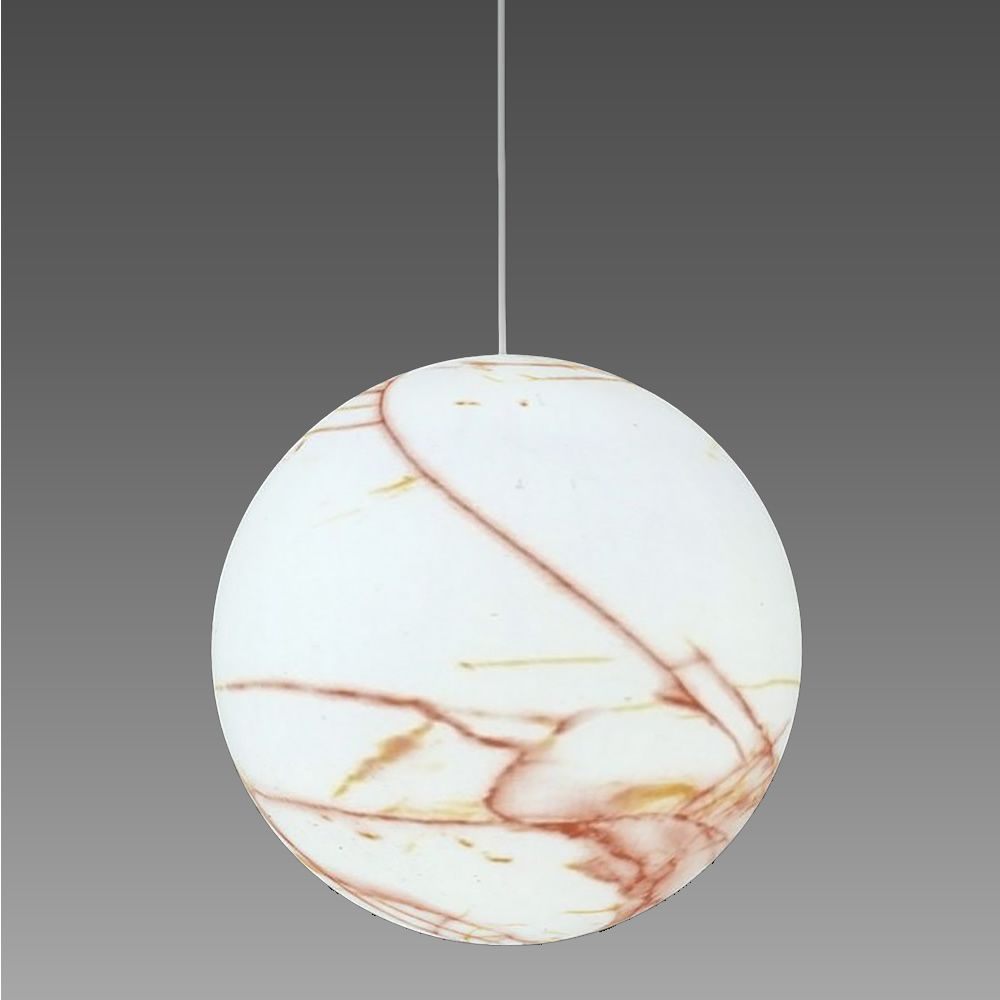 Pendant lamp in coloured polyethylen, white marble with red veinings effect