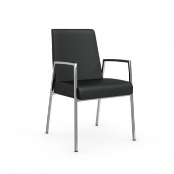 CB1287 Amsterdam - Chromed metal chair with armrest, black leather covering
