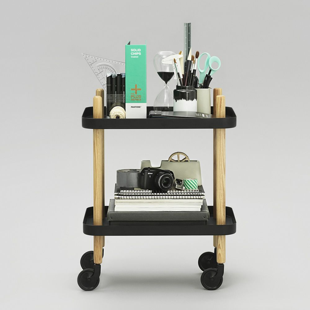 Trolley made of ash wood with tabletops in black lacquered steel, wheels in the same colour