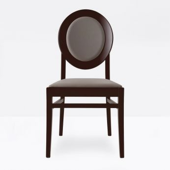 CB1648 Notre Dame - Wengè beech chair with dove-grey imitation leather covering