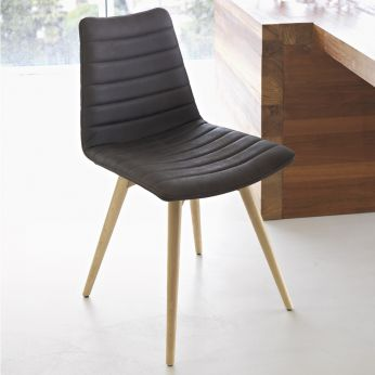Cover L - Wooden chair, natural oak finish, with leather, imitation leather or fabric covering