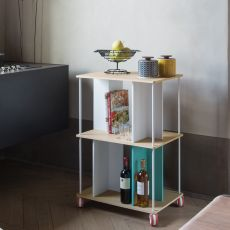 Domino R - Modular design shelving unit B-Line, with metal frame and wooden tops, with or without wheels, available in various configurations