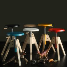 Pico - Valsecchi swivel and adjustable stool made of wood, different colours available