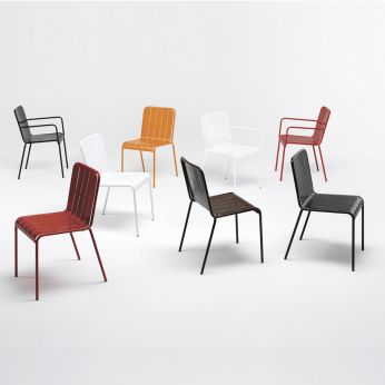 Stripes - Chairs with varnished steel structure, with or without armrests