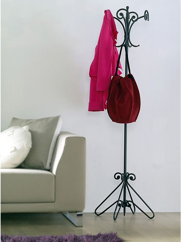 Coat stand in graphite varnished iron