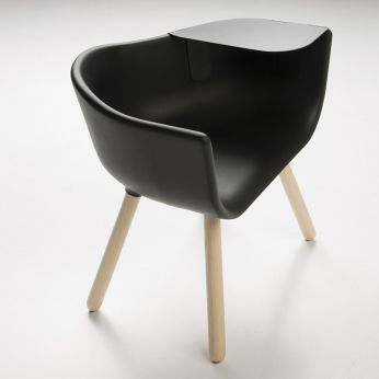 Tulip Large - Small armchair in natural stained wood with black seat, with black metal table