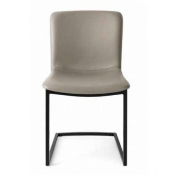 CS1853 Annie - Black varnished metal chair, with dove grey leather seat