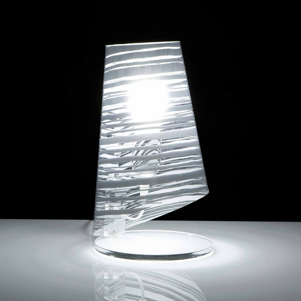 Lampe de table en polycarbonate transparent - décor blanc